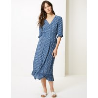 M&S Collection Floral Print Dobby Waisted Midi Dress