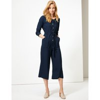 M&S Collection Round Neck Long Sleeve Maxi Jumpsuit