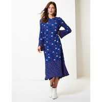 M&S Collection Floral Print Long Sleeve Waisted Midi Dress