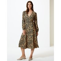 M&S Collection Animal Print Wrap Midi Dress