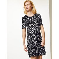 MandS Collection Animal Print Jersey Knee Length Swing Dress