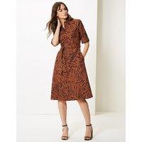 M&S Collection Pure Cotton Animal Print Shirt Dress