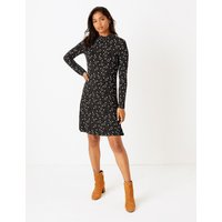 MandS Collection Floral Jersey Knee Length Swing Dress
