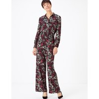 M&S Collection Floral Print Waisted Jumpsuit