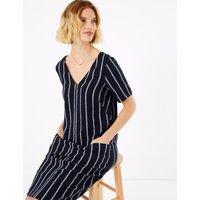 MandS Collection Linen Blend Striped Shift Dress