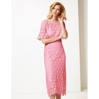 M&S Collection Lace Short Sleeve Waisted Midi Dress