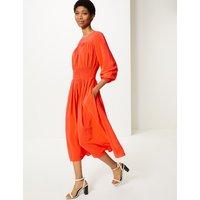 M&S Collection Jacquard Print Waisted Midi Dress