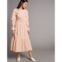 Autograph Pure Cotton Ruched Waist Midi Dress