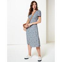 M&S Collection Floral Print Short Sleeve Tea Midi Dress