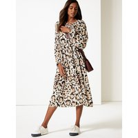 M&S Collection Animal Print Long Sleeve Tea Midi Dress