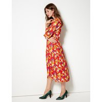 M&S Collection Floral Print 3/4 Sleeve Midi Dress