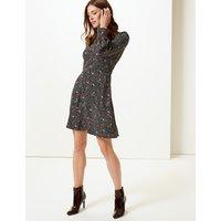M&S Collection Printed Long Sleeve Tea Dress