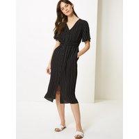 M&S Collection Striped Shirred Waist Midi Dress