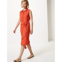 M&S Collection Side Tie Sleeveless Midi Shirt Dress