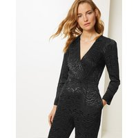 M&S Collection Animal Print Long Sleeve Jumpsuit