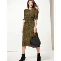 M&S Collection Animal Print Waisted Midi Dress