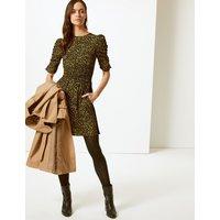 M&S Collection Animal Print Half Sleeve Tea Mini Dress