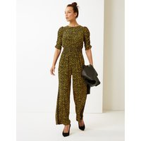 M&S Collection Animal Print Short Sleeve Maxi Jumpsuit