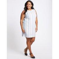 M&S Collection CURVE Linen Blend Striped Tunic Dress