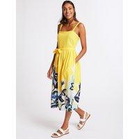 M&S Collection Linen Rich Floral Print Prom Midi Dress