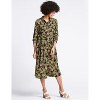 M&S Collection Floral Print Long Sleeve Shirt Midi Dress