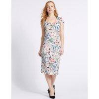 M&S Collection PETITE Floral Print Bodycon Midi Dress