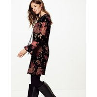 M&S Collection Floral Print Long Sleeve Swing Dress