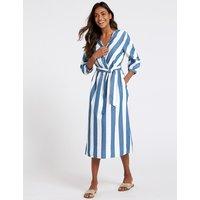 M&S Collection Pure Cotton Striped Midi Dress