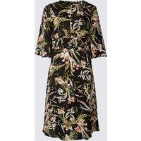 M&S Collection PETITE Floral Print Fit & Flare Midi Dress