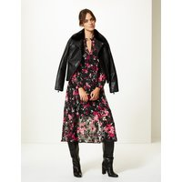 M&S Collection Floral Print Long Sleeve Shirt Midi Dress