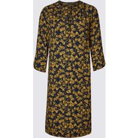 M&S Collection Satin Floral Print Shift Dress