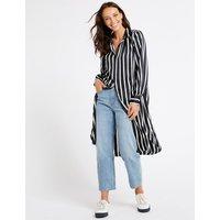 M&S Collection Striped Long Sleeve Shirt Midi Dress