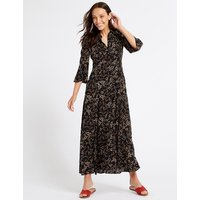M&S Collection Floral Print 3/4 Sleeve Shirt Maxi Dress