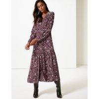M&S Collection Floral Print Long Sleeve Shirt Maxi Dress
