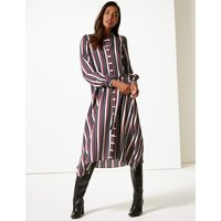 M&S Collection Striped Long Sleeve Shirt Midi Dress