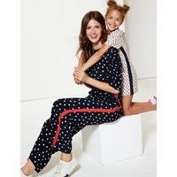 M&S Collection Spotted Smock Waist Ruched Sleeve Jumpsuit