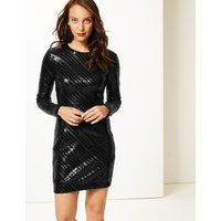 M&S Collection Sparkly Long Sleeve Bodycon Dress