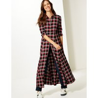 M&S Collection Checked Long Sleeve Shirt Maxi Dress