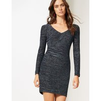 M&S Collection Sparkly Jersey Long Sleeve Bodycon Dress