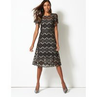 M&S Collection Lace Short Sleeve Swing Midi Dress