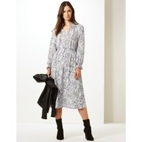 M&S Collection Animal Print Long Sleeve Shift Midi Dress