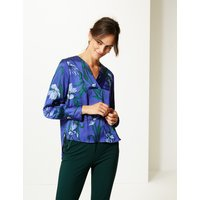 M&S Collection Satin Floral Print V-Neck Long Sleeve Blouse