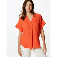 MandS Collection Pure Linen Short Sleeve Blouse