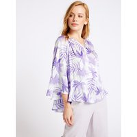 M&S Collection PETITE Printed Satin Long Sleeve Blouse
