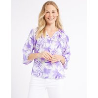 M&S Collection Printed Satin V-Neck 3/4 Sleeve Blouse