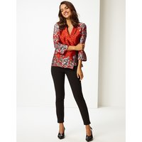 Per Una Satin V-Neck 3/4 Sleeve Blouse