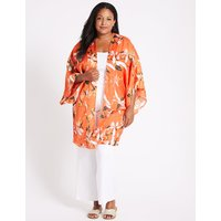 M&S Collection CURVE Floral Print 3/4 Sleeve Kimono Top