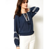 M&S Collection Embroidered Round Neck Long Sleeve Blouse