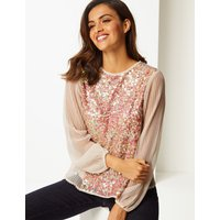 Per Una Embellished Round Neck Long Sleeve Blouse