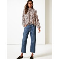 M&S Collection Printed Funnel Neck Long Sleeve Blouse